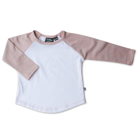 BASEBALL TEE | BLUSH & WHITE