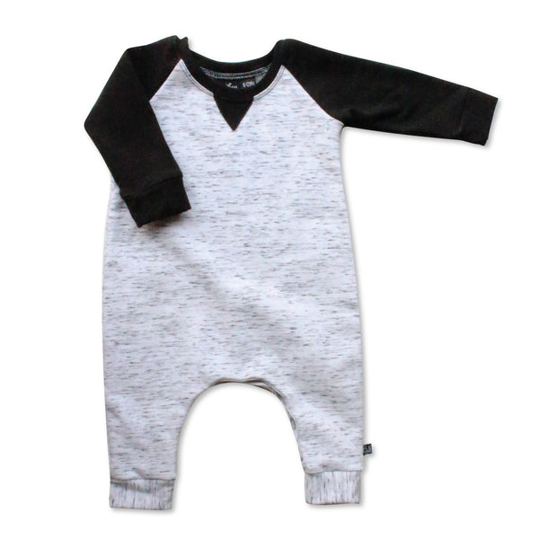 VONBON GRAY BLACK FLEECE ROMPER