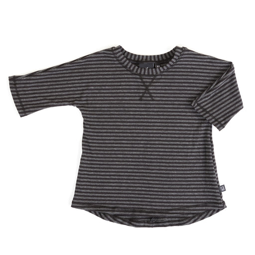 VONBON 3/4 SLEEVE TEE BAMBOO ORGANIC COTTON JERSEY UNISEX BASIC TOP CHARCOAL STRIPE