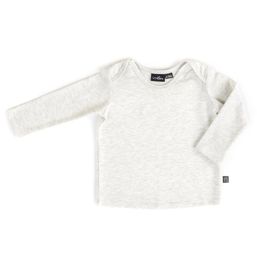 VONBON BABY BASIC TOP ENVELOPE OPENING EASY TOP ORGANIC COTTON BAMBOO HEATHER ASH MELANGE