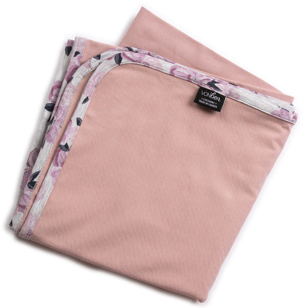 VONBON BABY GIRLS PINK AND FLORAL SWADDLE BLANKET