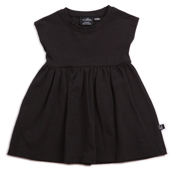 ORGANIC BLACK BABY GIRLS DRESS LBD CAP SLEEVE