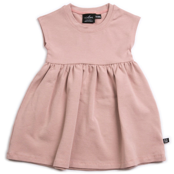 VONBON GIRLS DRESS BAMBOO ORGANIC COTTON BLUSH PINK