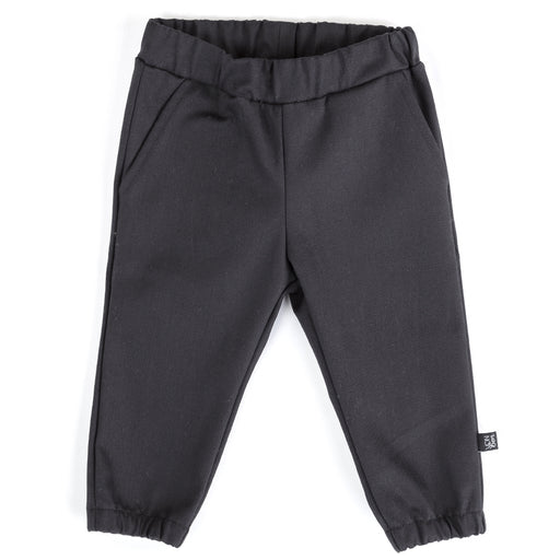 VONBON ELASTIC CUFF JOGGER BLACK COTTON SPANDEX BRUSHED TWILL BOTTOMS VANCOUVER