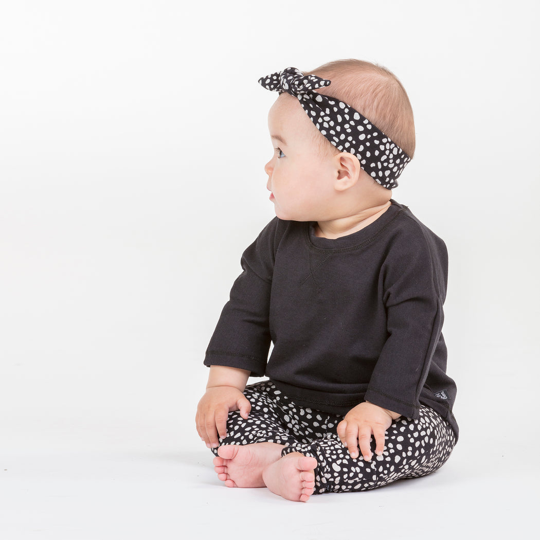 VONBON BLACK BASIC KIDS BABY TOP 3/4 SLEEVE TEE CANADIAN MADE BAMBOO ORGANIC COTTON