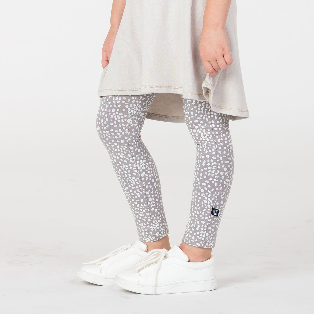 VONBON BASIC LEGGING ORGANIC COTTON SPECKLED FAWN WHITE TAUPE PRINT VANCOUVER CANADA
