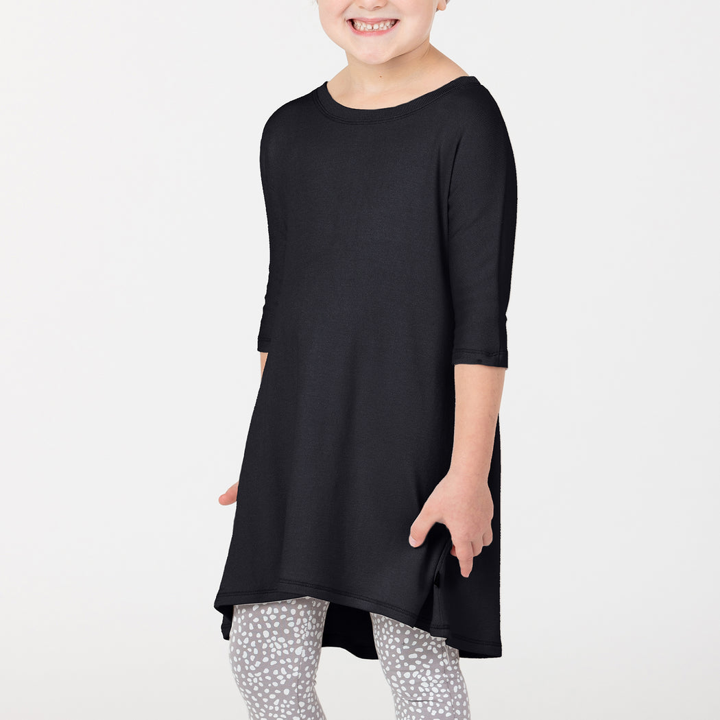 VONBON KNIT 3/4 SLEEVE DRESS MODAL RAYON SWEATER GIRLS BLACK