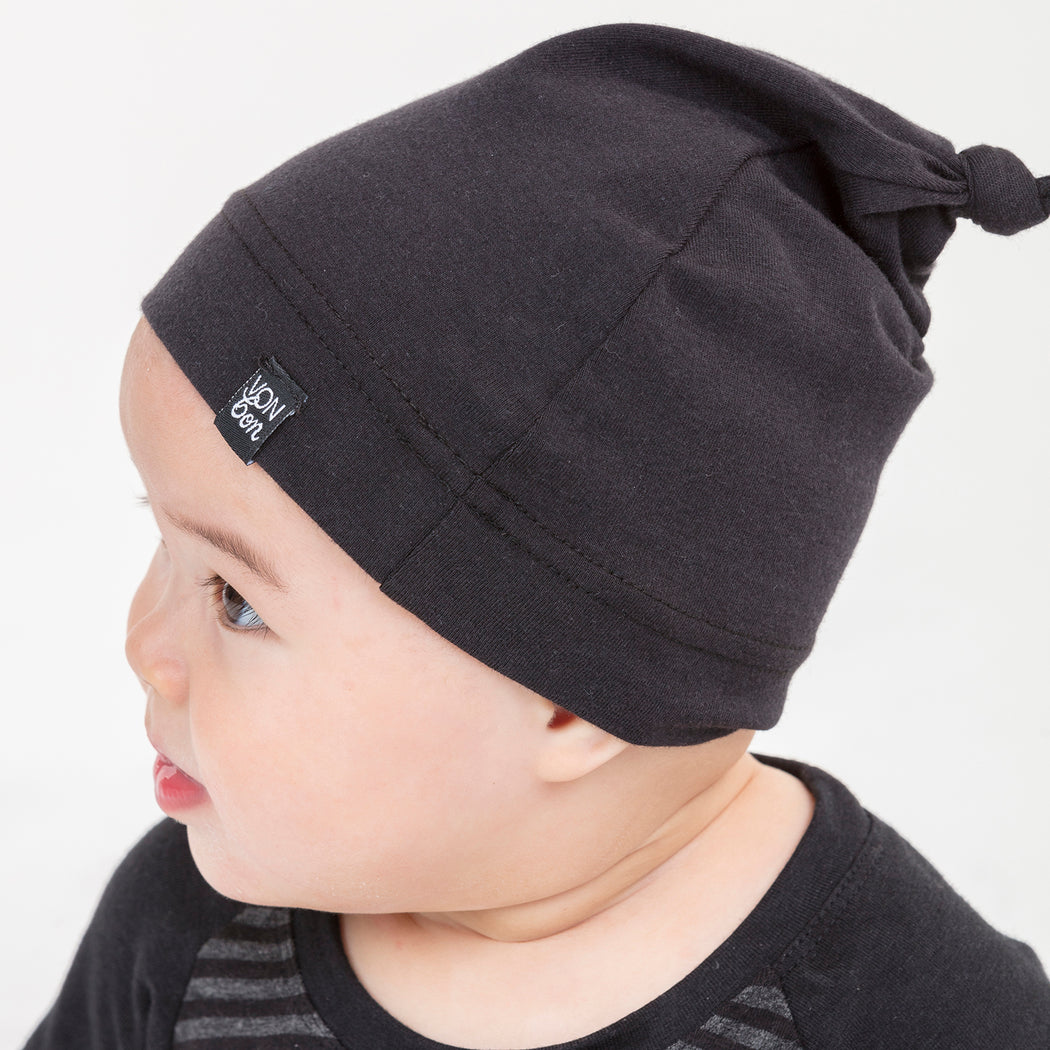 VONBON KNOTTED BLACK ORGANIC COTTON KNOTTED HAT CANADIAN MADE