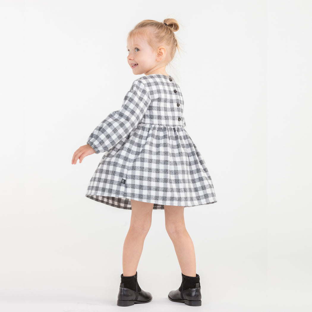 VONBON CHECK FLANNEL DRESS LONG SLEEVE PLAID GIRLS PARTY HOLIDAY ORGANIC COTTON