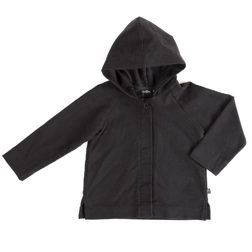 VONBON HOODED JACKET BLACK ORGANIC COTTON MOLESKIN UNISEX OUTERWEAR VANCOUVER