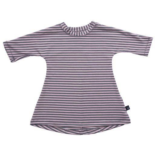VONBON GIRLS 3/4 SLEEVE DRESS LAVENDER STRIPE BAMBOO ORGANIC COTTON