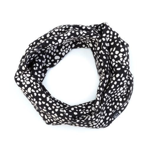 VONBON INFINITY LOOP SCARF BIB SPECKLED BLACK ORGANIC COTTON CANADIAN MADE