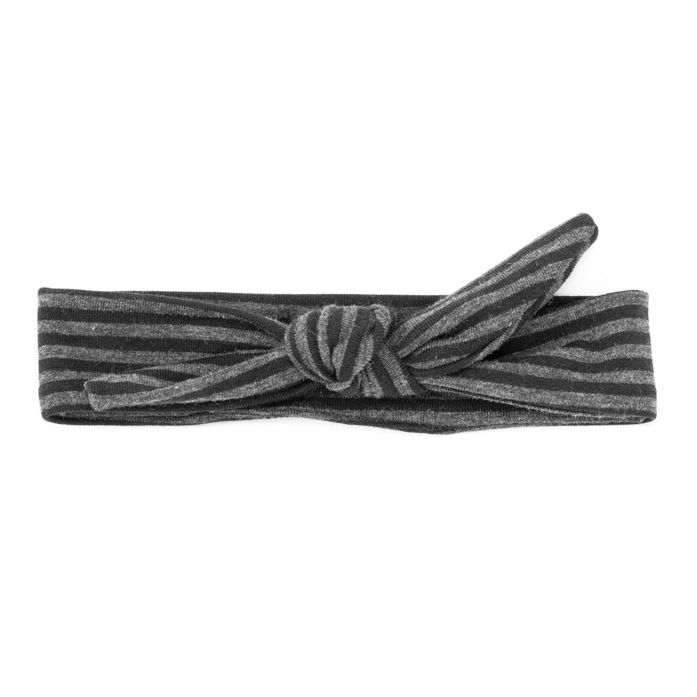 VONBON ORGANIC COTTON BAMBOO BABY GIRL KIDS HEADBAND CHARCOAL STRIPE