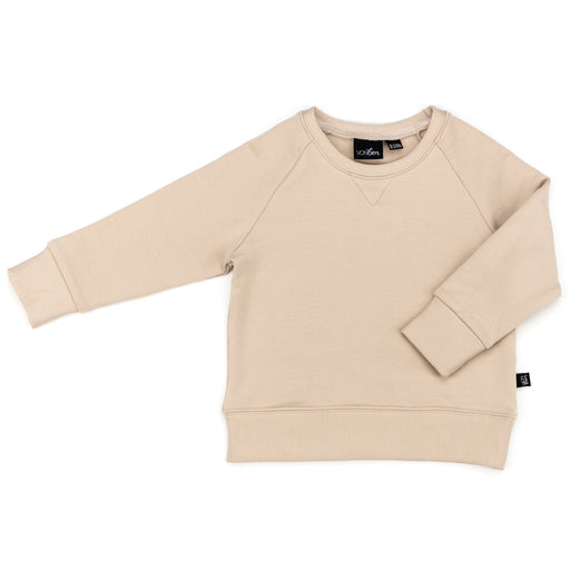 VONBON LONG SLEEVE PULLOVER TOP FLEECE MADE IN VANCOUVER CANADA SAND BEIGE