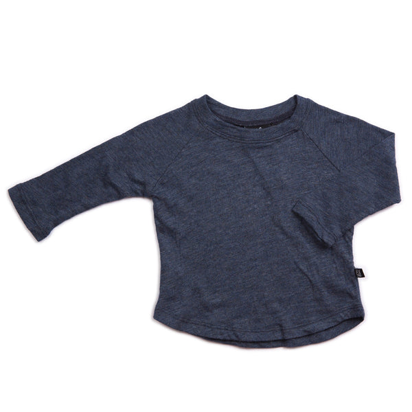LONG SLEEVE KIDS BABY COASTAL BLUE TOP TEE ORGANIC