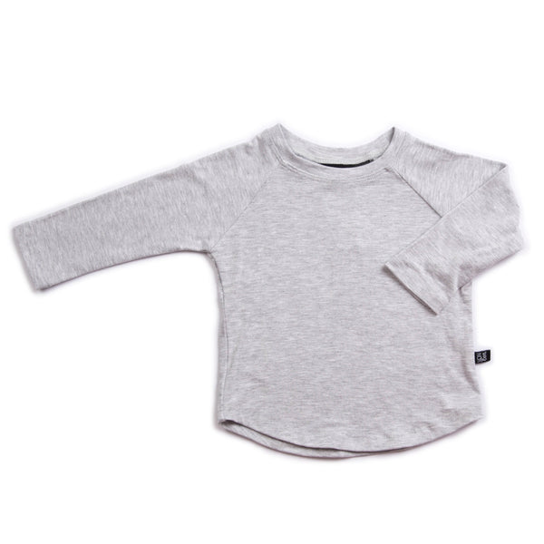 LONG SLEEVE KIDS BABY MARBLE GRAY TOP TEE ORGANIC