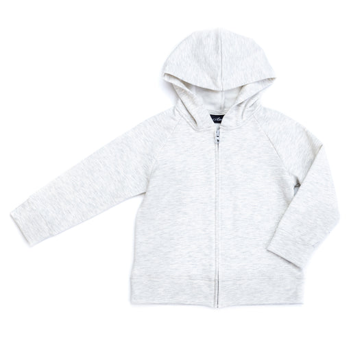 VONBON LONG SLEEVE ZIP FLEECE HOODIE ORGANIC COTTON BAMBOO HEATHER ASH