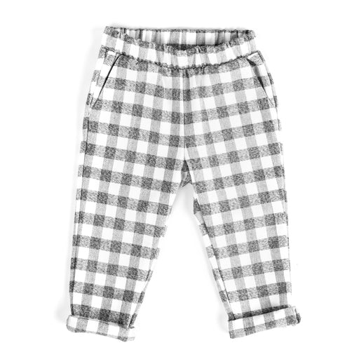 VONBON ROLLED CUFF TROUSER BLACK WHITE CHECK PLAID FLANNEL ORGANIC COTTON BOTTOMS CANADA