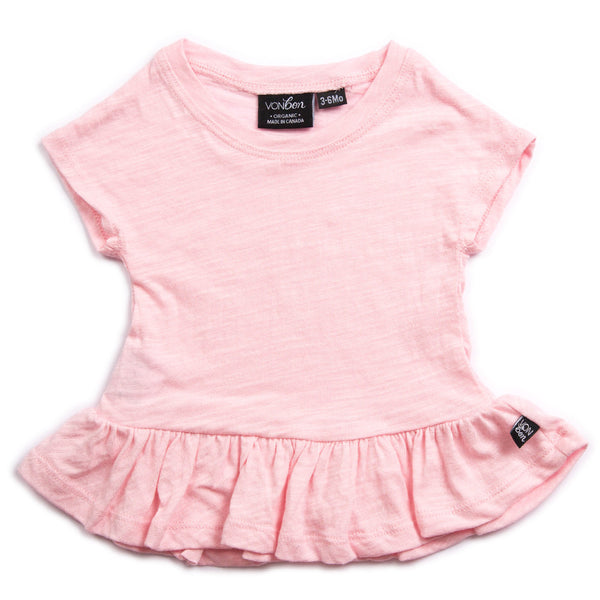 SHORT SLEEVE PEPLUM TEE TOP GIRLS BABY VONBON PINK