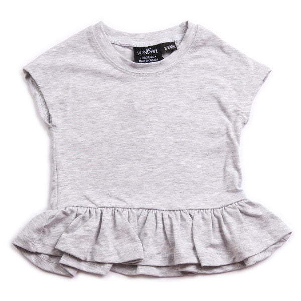 SHORT SLEEVE PEPLUM TEE TOP GIRLS BABY VONBON GRAY