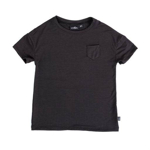 VONBON BLACK BASIC SHORT SLEEVE POCKET TEE MODAL SPANDEX UNISEX OVERSIZED SOFT TOP VANCOUVER