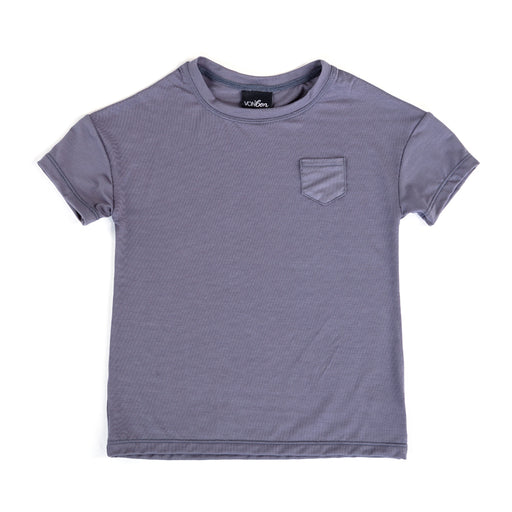 SHORT SLEEVE POCKET TEE STONE GRAY BASIC TOPS UNISEX MODAL SPANDEX VANCOUVER