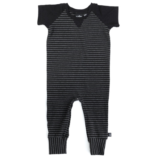 VONBON SHORT SLEEVE ROMPER CHARCOAL STRIPE ORGANIC COTTON BABY INFANT TODDLER ONESIE UNISEX VANCOUVER
