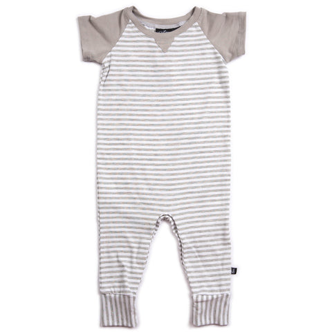 SHORT SLEEVE ROMPER | GRAY STRIPE/SLATE GRAY