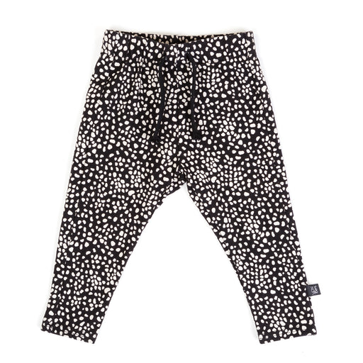 VONBON JERSEY SKINNY SWEATS SPECKLED BLACK WHITE PRINT PANTS UNISEX VANCOUVER