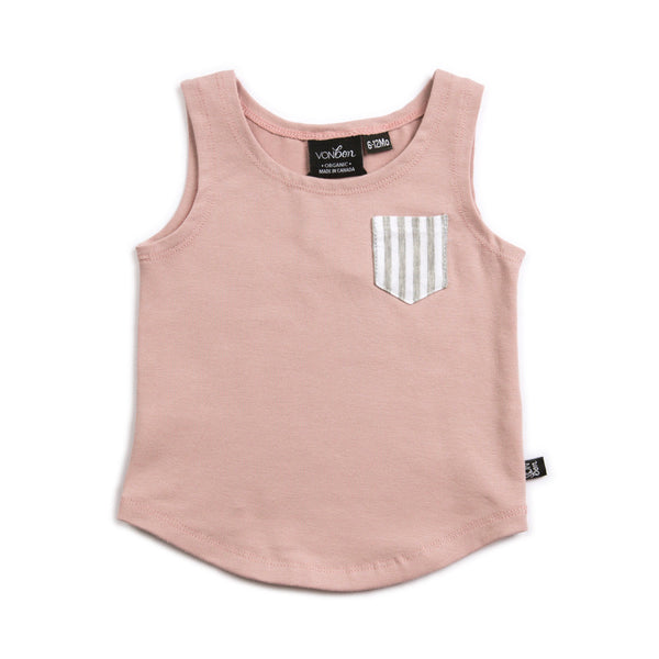 VONBON SLEEVELESS TANK SUMMER GIRLS VEST POCKET PINK