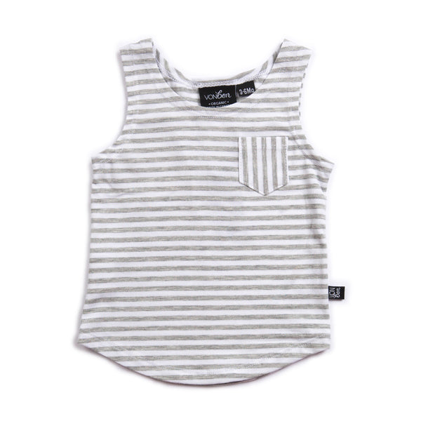 VONBON BAMBOO SLEEVELESS TANK GRAY STRIPE SUMMER CASUAL KIDS