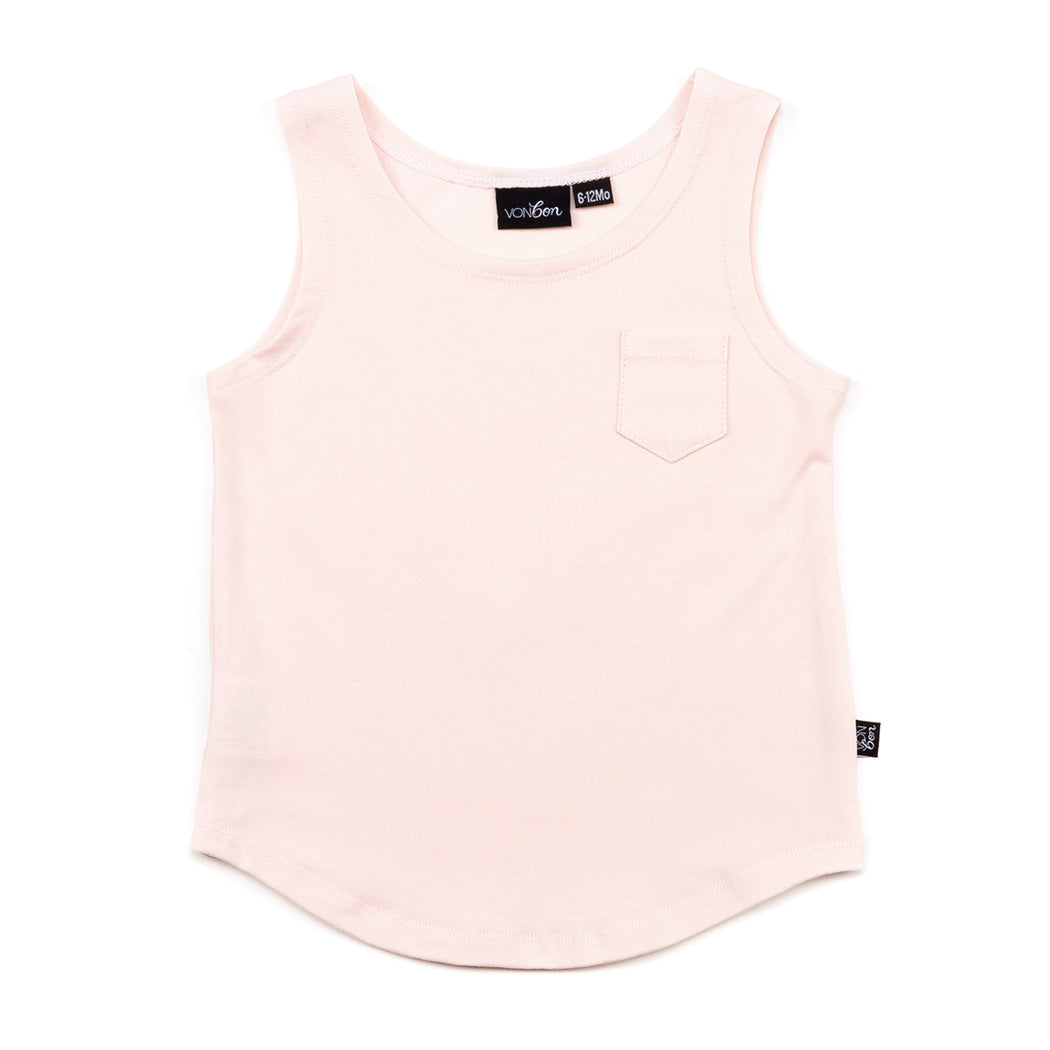 VONBON SLEEVELESS TANK TOP ORGANIC COTTON BAMBOO CANADIAN MADE PEARL PINK