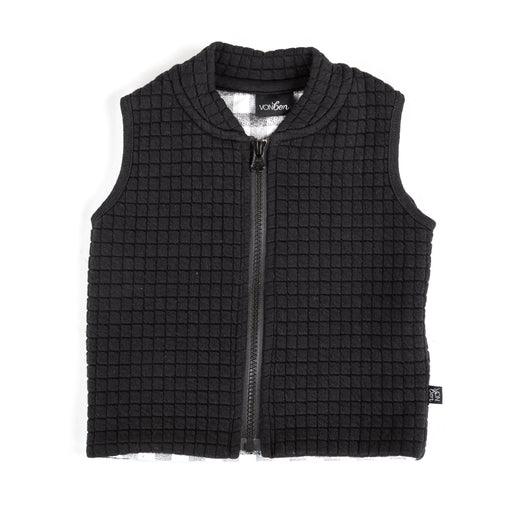 VONBON SLEEVELESS VEST BLACK WHITE CHECK QUILTED ZIP OUTERWEAR PLAID CANADA