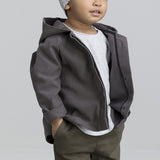 GRAY HOODED ORGANIC COTTON BOYS JACKET