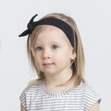 BLACK ORGANIC COTTON JERSEY BAMBOO KNOTTED HEADBAND BLACK
