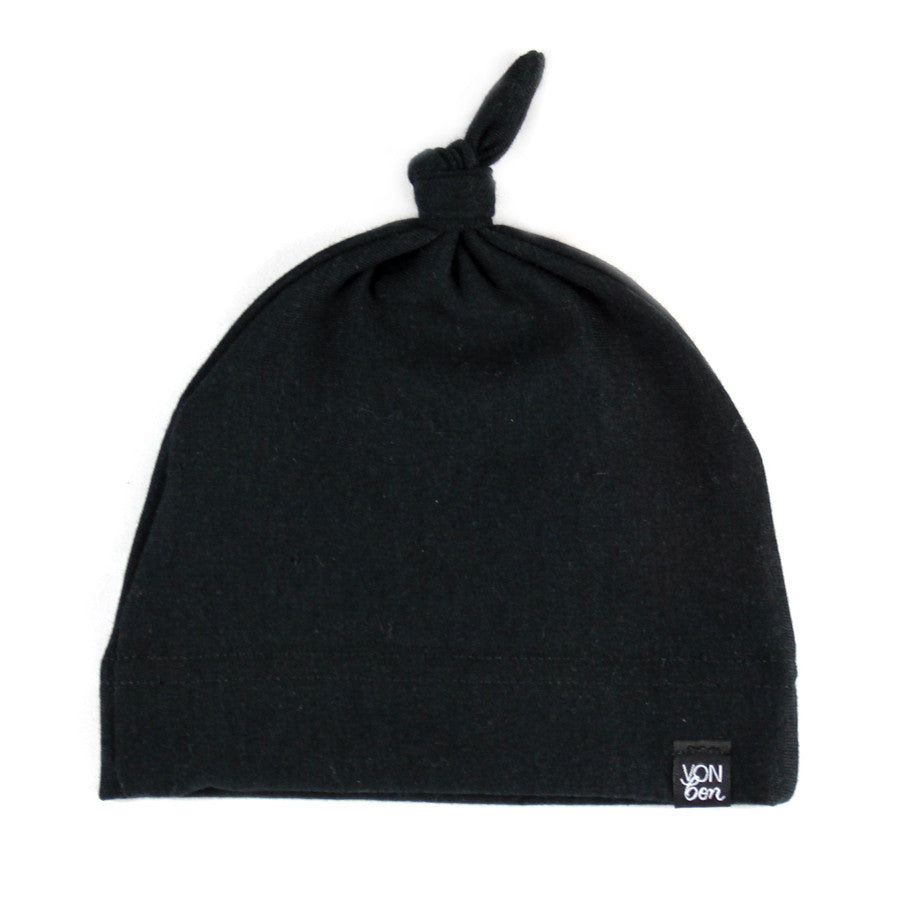 VONBON KNOTTED BLACK ORGANIC COTTON KNOTTED HAT