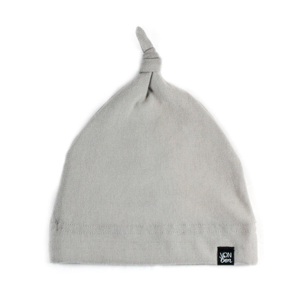 vonbon organic knotted baby hat slate