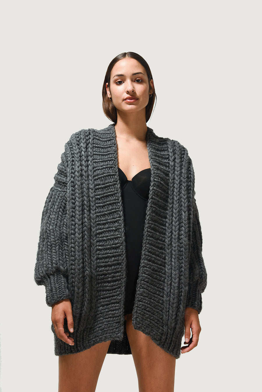 Chunky Knits | Chunky Cardigan in Charcoal