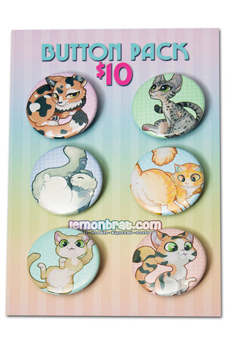 6 Button Set - Cats