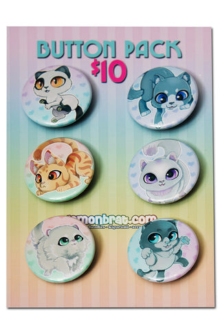 6 Button Set - Kittens