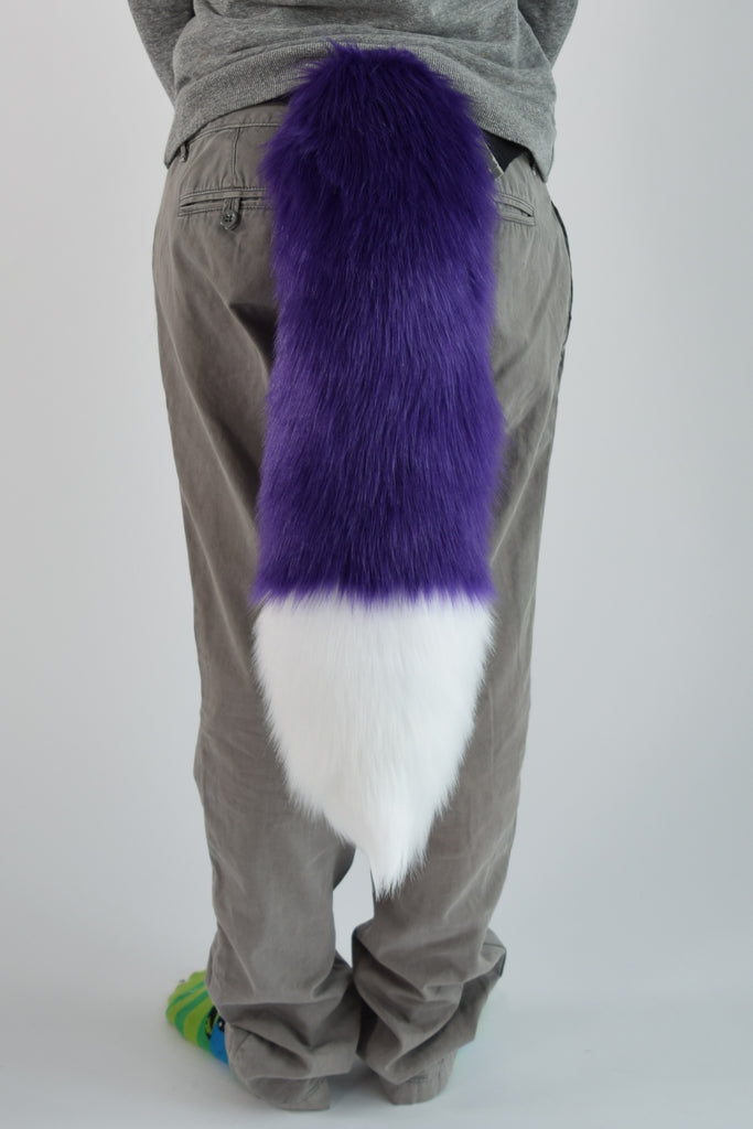 Luxury Purple Furry Ear & Tail Set - White Tip