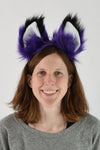 Luxury Purple Furry Ear & Tail Set - Black Tip