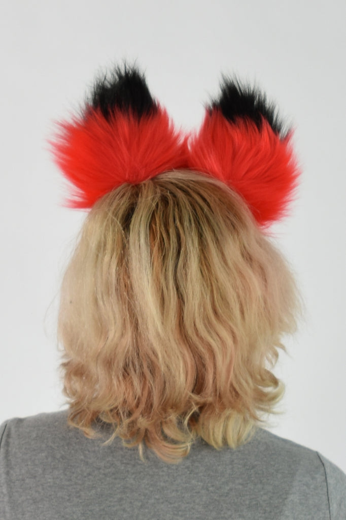 Luxury Red Ear & Tail Set- Black Tip