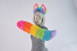 Luxury Sherbet Rainbow Furry Ear & Tail Set