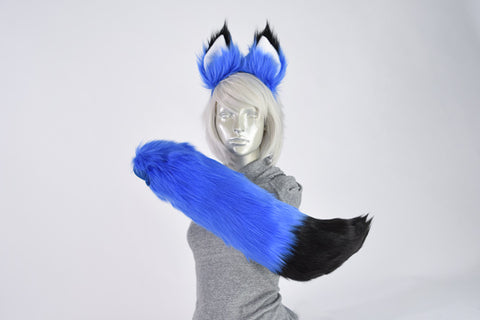 Luxury Blue Furry Ear & Tail Set - Black Tip