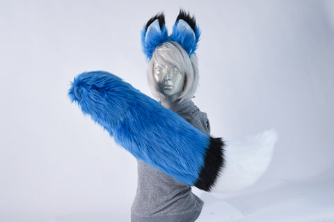 Deluxe Blue Luxury Furry Ear & Tail Set - Black & White Tip