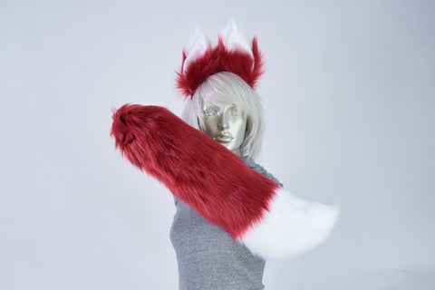 Luxury Dark Red Furry Ear & Tail Set- White Tip
