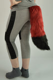 Luxury Dark Red Furry Ear & Tail Set - Black Tip