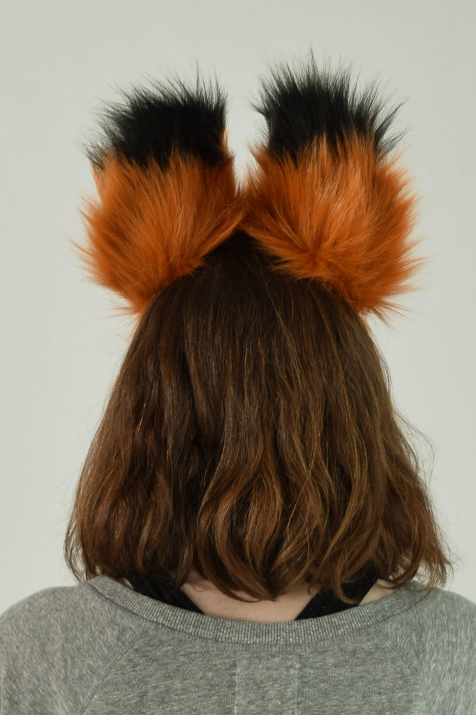 Deluxe Rust Luxury Furry Ear & Tail Set - Black & White Tip