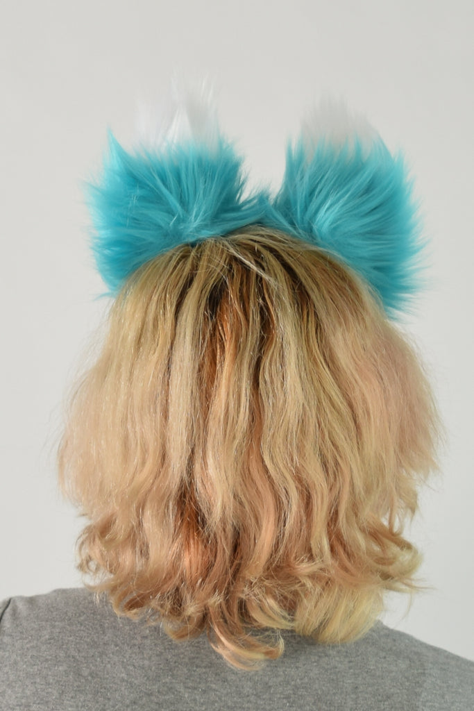 Luxury Teal Ear & Tail Set- White Tip